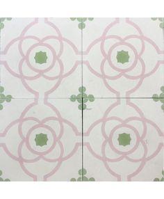 Macedonia Pink Green Encaustic Cement Tile by Terrazzo Tiles¦ Shop Online: http://www.terrazzo-tiles.co.uk/macedonia-pink-green-encaustic-cement-tile.html #encaustictiles #cementtiles #hydraulictiles #macedonia #floralpattern #beautifultiles #tiles #patterntiles #terrazzotiles #mosaicohidraulico @TerrazzoTiles