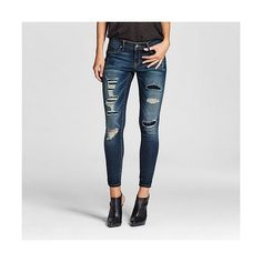 Mid Rise Jegging Dark Blue Rip and Repair -  - Mossimo ($30) ❤ liked on Polyvore featuring pants, leggings, washed blue, skinny jean leggings, ripped leggings, stretch jean leggings, ripped jeggings and jeggings leggings