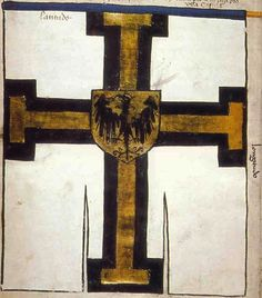 "f°1v, Chorągiew wielkiego mistrza większa // Banner of the Great Master of the Teutonic Order. Under the leadership of Grand Master Ulrich von Junigen -- ""Banderia Prutenorum"", by Jan Dlugosz, 1410"