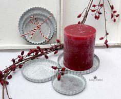 Floristikdeko - Kerzen-Tablett-rund , 3tlg. - ein Designerstück von tulip-deko…