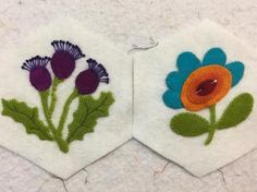 Here are works in progress from the Sunday Stitching Society... --  Embroidery on Wool Applique