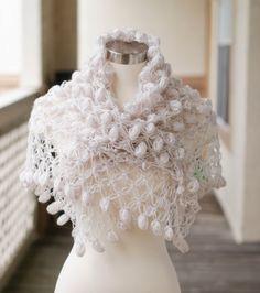 Wedding Shawl CapeBridal Bolero Bridal Shrug Winter Wrap Crochet White Lace