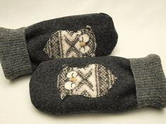 Men Mittens Felted Wool Owl Sweater Mittens Dark and Light Grey Owl Applique Fleece Lining Leather Palm Eco Friendly Upcycled on Etsy, $38.00