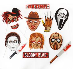 Items similar to Halloween Photo Booth Party props Inspired by the halloween villans on Etsy Halloween Photo Booth Props, Photo Booth Party Props, Halloween Photos, Chucky, 2nd Birthday, Babe, Party Ideas, Inspired, Handmade Gifts