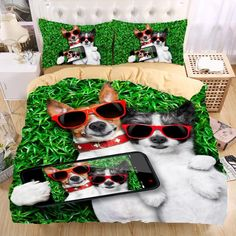 """HOT PRICES FROM ALI - Buy """"dog Bedding Set Monocerus Print Duvet cover set Twin queen king Beautiful pattern Real effect lifelike bedclothes"""" for only USD. 3d Bedding Sets, Duvet Sets, Duvet Cover Sets, Linen Bedding, Bed Sets, Puppy Room, Flannel Duvet Cover, Shabby, Bedclothes"""