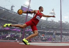 Trey Hardee of the U.S. competes in the men's decathlon discus throw event at the London 2012 Olympic Games at the Olympic Stadium