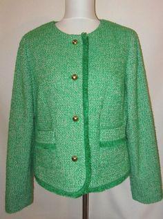 Talbots size 14 Jacket Blazer Green Tweed Wool Fringe Gold Buttons Suit Ladies #Talbots #Blazer