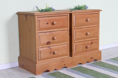 £125 Waxed pine bedside tables with 3 drawers & age related marks, solid throughout - see all our pine bedroom furniture on the website - http://www.sussexpineonline.co.uk/en/