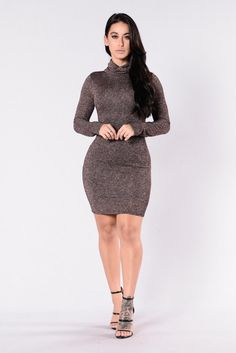 - Available in Rose Gold - Sparkle Dress - Midi Length - Turtle Neck - Long Sleeves - Lined - Made in USA - 90% Polyester 10% Spandex