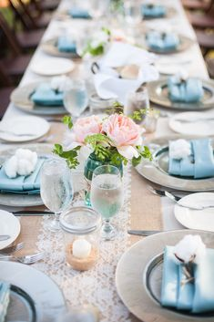 Tablescape with burlap, lace & cotton. Love tht blue