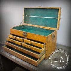 Industrial Gerstner Antique Wood Tool Box Chest Jewelry Box @ IndustrialArtifacts