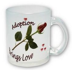 Adoption Brings Love Coffee Mug with Red Rose and Hearts Design! - #adoption #gifts #adoptioncups