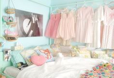 hang dresses on canopy frame for storage and because it's pretty