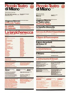 Piccolo Teatro di Milano graphic programme, 1964. The project included programmes, posters and publications.