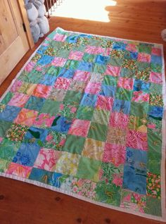 Lilly Pulitzer Vintage Fabric Quilt