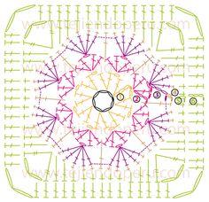 Cómo tejer una flor africana o african flower a crochet (hexágono, cuadrado o granny square y medio hexágono)