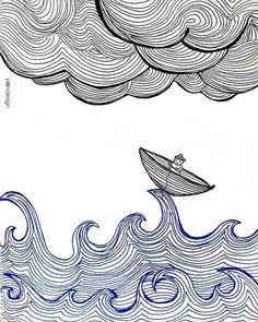 ✒ #sea #fisher #wave #waves #illustration #lineart #blueandblack #drawing #lines #pen #pandesign #studio #pandesign_studio #art #greetingcard #gift #pic #wintersea #clouds #cloudy #boat #littleboat #man #sail #sailing #sailor