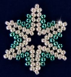 Free Bead Patterns and Ideas by Sandra D Halpenny : Snowflake #93 Ornament - Free Pattern