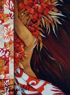 toile de Mov, artiste de Moorea , P.F Tahiti, Hawaiian Art, Hawaiian Tropic, Polynesian Art, Tiki Art, Exotic Art, Vintage Hawaii, Tropical Art, Surf Art