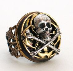 SKULL Ring St. Lucia with Pirate's Compass and Vintage Locket by Lorelei Designs - Steampunk Gothic. $54.00, via Etsy.