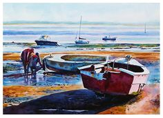 """Fixing the boat by Graham Berry Watercolor ~ 21"""" x 28"""""""