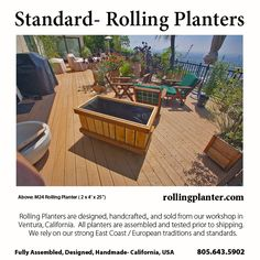 "M24 ( 2 x 4' x 25"") COMMERCIAL QUALITY ""ROLLING PLANTER.""  Grow almost everything in this planter, best for plants that need deep roots, including trees. Fully assembled.  Made from sustainably grown cedar/fir, case hardened and marine epoxy/ glass coated steel screws/ bolts, tri-ply liner and plumbed drains. Designed, handmade and shipped from Ventura, California, USA 805.643.5902  www.rollingplanter.com"