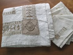 Vintage Linen Tablecloth Handmade Bobbin Lace  Drawn Threadwork 67 x 54 with Napkins