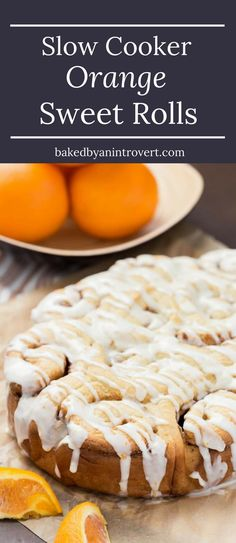 These Slow Cooker Orange Sweet Rolls are ridiculous fluffy and perfectly sweet with bold orange flavors. via @introvertbaker