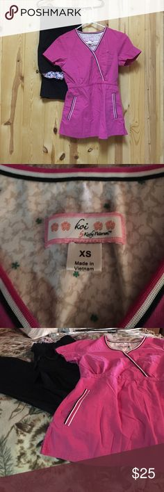 Koi Scrub Set XS Top XS Regular Pant Inseam 29 EUC Excellent Used Condition Koi Stretch Scrub Pant and Koi Scrub Top XS Pink Nice Set I get lots of compliments on my scrubs Tapered fit Koi Other