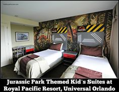 Jurassic Park Kid's Suite at the Royal Pacific Resort, Universal Orlando. These rooms are really well done - Who doesn't want to stay in a Jurrasic Park room? Universal Studios Jurassic Park, Universal Orlando Hotels, Universal Resort, Orlando Parks, Orlando Vacation, Orlando Florida, Jurassic World, Orlando Holiday, Kid Rooms