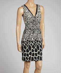 Black & White Giraffe Jacquard V-Neck Dress by Nicole Miller #zulily #zulilyfinds