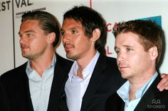 "Photo by: Joseph Frisenda/starmaxinc.com 2007. 4/26/07 Leonardo DiCaprio with Lukas Haas and Kevin Connolly at the premiere of ""The Gardener of Eden"" at the Tribeca Film Festival. (NYC)"