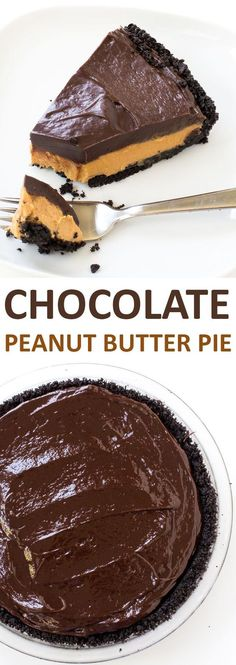 Super Easy No Bake Chocolate Peanut Butter Pie. Oreo Cookie Crust layered with a peanut butter filling and chocolate ganache - chefsavvy.com