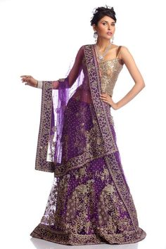 This deep lavender lehenga gives a smart sheen and glow to its wearer through its exceptionally lovely color. The golden toned work and peacock embroidery on its body is certainly a sensuous one. Get this lehenga now to get ready to feel the difference.