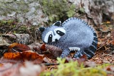A felt raccoon pattern - the perfect Christmas ornament for your Maine woods Christmas tree.