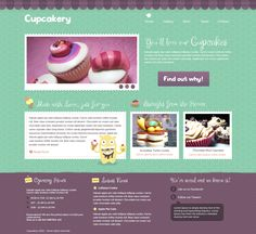 Buy Cupcakery by jalberto on ThemeForest. A beautiful and sweet theme for Cake Shops, Restaurants, Coffee Shops, Ice Cream Shops o. Chocolate Turtles, Social Icons, Vector Shapes, Cake Shop, Web Design Inspiration, Green And Purple, Website Template, Creative Design, Coffee Shop
