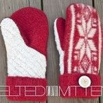 """DIY FELTED SWEATER MITTENS:  Click this pic for written instructions. Then click on red """"mitten template"""" for simple, clear pattern. Would be easy to turn this pattern into a convertible mitten pattern."""