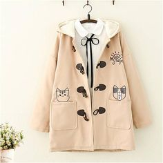 Kawaii Cat Embroidered Plush hooded Coat - New Tutorial and Ideas Harajuku Fashion, Kawaii Fashion, Lolita Fashion, Cute Fashion, Girl Fashion, Fashion Outfits, Night Outfits, Mode Kawaii, Kawaii Cat