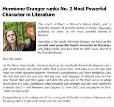 Hermione Granger is the number 2 most powerful character in literature.