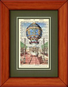 Dictionary Print  1783 Balloon  6 3/4 x 9 3/4 by PagesOfAges, $7.00