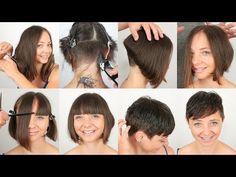 Come tagliare i capelli a casa? Ecco 12 semplici tutorial con immagini e video per imparare a tagliare i capelli da sola o con l'aiuto di qualche familiare Pixie Haircut, Hair Cuts, Hairstyle, Tutorial, Youtube, Videos, Home, Hair, Courage To Change