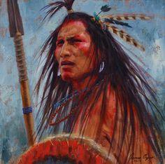 The Warrior Survivor   Crow Warrior   Native American painting   James Ayers Studio