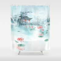 LOTUS IN THE POND PAINTING Shower Curtain