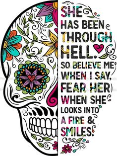 'A Strong Woman Looks Danger In The Eye And Gives it a Wink Sugar Skull ' Sticker by hustlagirl Sugar Skull Artwork, Sugar Skull Wallpaper, Sugar Skull Drawings, Sugar Skull Painting, Sugar Skull Images, Doodle Drawings, Caveira Mexicana Tattoo, Los Muertos Tattoo, Zealand Tattoo