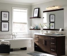 Contemporary bathroom vanity by Homecrest Cabinetry Bad Inspiration, Bathroom Inspiration, Contemporary Vanity, Contemporary Design, White Bathroom Cabinets, Bathroom Vanities, Bath Cabinets, Master Bathroom, Bathroom Photos