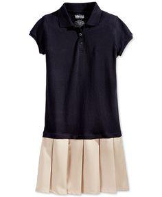 Nautica Girls' Uniform Pleated Polo Dress