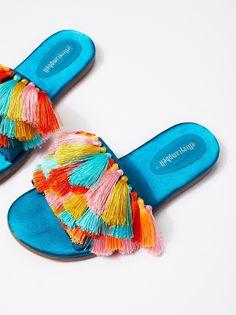d6d0d4ca0f20 Jeffrey Campbell Blue Satin Multi Watercolor Tassel Sandal at Free People  Clothing Boutique Blue Satin