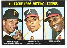 1967 Topps #240 NL Batting Leaders (Matty Alou, Felipe Alou, Rico Carty)