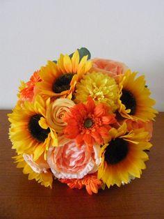 夏の花嫁様に☆ ひまわりとマムのラウンドブーケ♪ の画像|Ordermade Wedding Flower Item MY FLOWER ♪ まゆこのブログ