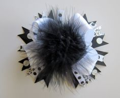Over the Top Black and White Hair Bow with by MissPrissTutuShop, $13.00 White Hair Bows, Girl Hair Bows, Miss Priss, Ribbon Bows, Ribbons, Girly Girl, Headbands, Hairbows, Unique Jewelry